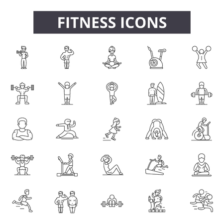 Fitness line icons, signs set, vector. Fitness outline concept illustration: gym,diet,fitness,weight,exercise,muscle,sport