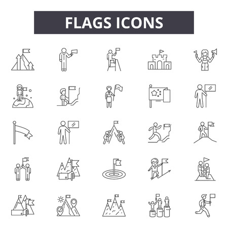 Flags line icons, signs set, vector. Flags outline concept illustration: flag,isolated,decollection