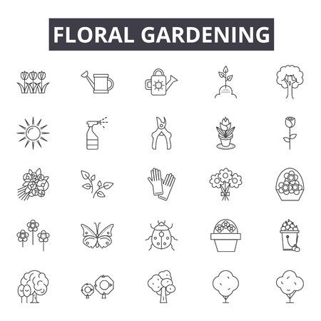 Floral gardening line icons, signs set, vector. Floral gardening outline concept illustration: floral,garden,nature,flower,gardening,plant,shovel,fence Ilustração