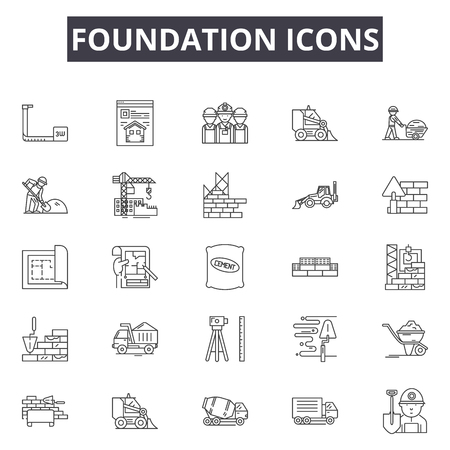 Foundation line icons, signs set, vector. Foundation outline concept illustration: foundation,dehouse,construction,home,estate,build