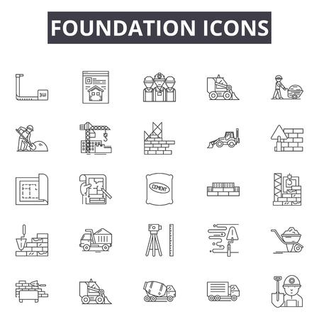 Grundlinie Symbole, Zeichensatz, Vektor. Grundrisskonzeptillustration der Stiftung: Stiftung, Dehouse, Bau, Haus, Anwesen, Build