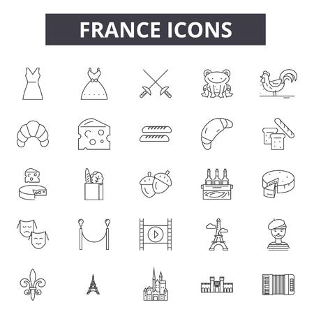France line icons, signs set, vector. France outline concept illustration: france,travel,europe,french,paris,tourism Ilustracja