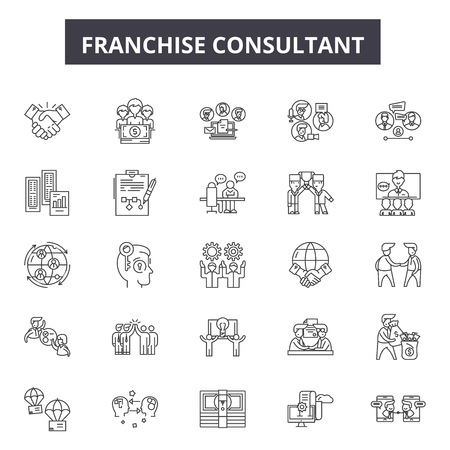 Franchise consultant line icons, signs set, vector. Franchise consultant outline concept illustration: business,franchise,finance,success,strategy,company,marketing,leadership