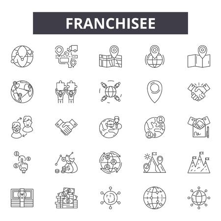 Franchisenemer lijn pictogrammen, borden set, vector. Franchisenemer schets concept illustratie: franchisenemer, franchise, bedrijf, winkel, winkel, model, detailhandel, licentie