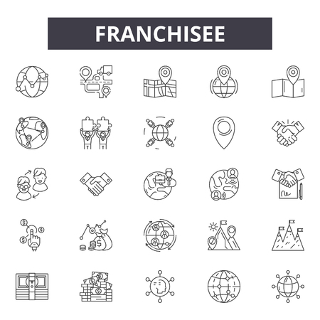 Linea di franchising icone, set di segni, vettore. Illustrazione del concetto di contorno dell'affiliato: affiliato, franchising, azienda, negozio, negozio, modello, vendita al dettaglio, licenza