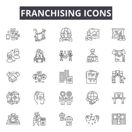 Franchising line icons, signs set, vector. Franchising outline concept illustration: franchise,business,global,retail,shop,store,license