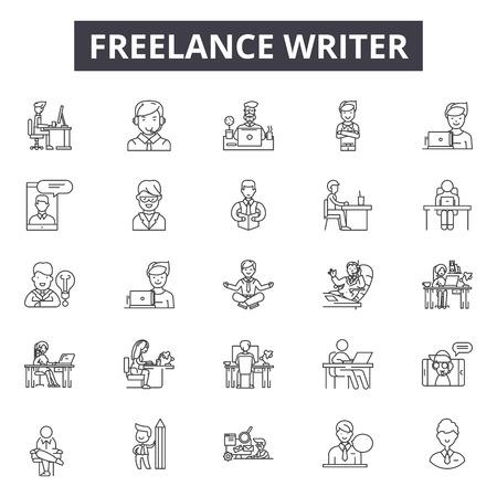 Freelance writer line icons, signs set, vector. Freelance writer outline concept illustration: writer,freelance,business,decreative,flat,computer