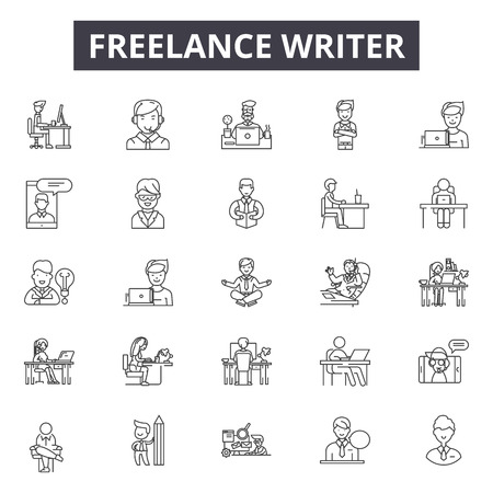 Freelance writer line icons, signs set, vector. Freelance writer outline concept illustration: writer,freelance,business,decreative,flat,computer