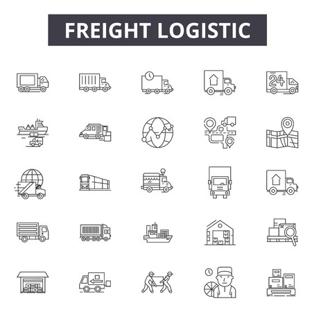 Freight logistic line icons, signs set, vector. Freight logistic outline concept illustration: shipping,delivery,freight,box,truck,ship,cargo,transportation,export