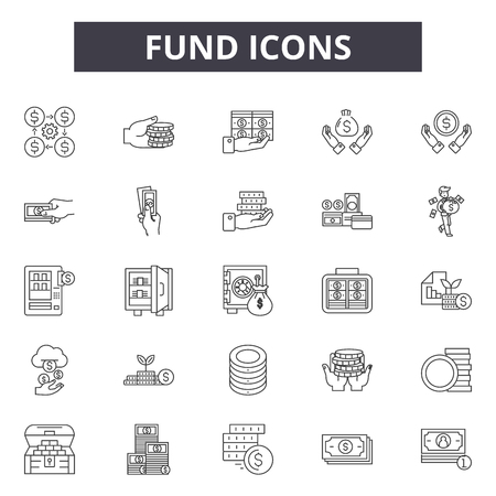 Funds line icons, signs set, vector. Funds outline concept illustration: business,money,investment,income,finance,profit,bank,financial,dollar Illusztráció