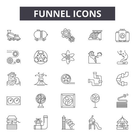 Funnel line icons, signs set, vector. Funnel outline concept illustration: funnel,filter,pictogram,isolated,cone Illustration