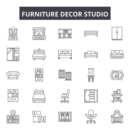 Furniture decor studio line icons, signs set, vector. Furniture decor studio outline concept illustration: defurniture,home,decor,interior,studio,modern