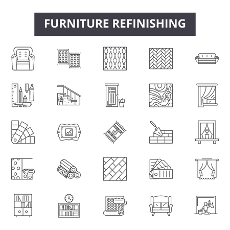 Furniture refinishing line icons, signs set, vector. Furniture refinishing outline concept illustration: Top 48 Keywords:,speckle,tool,linear,surface,dots,texture,work,carpentry,black