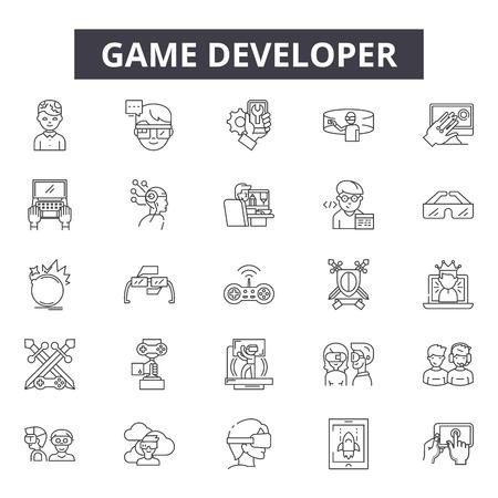Game developer line icons, signs set, vector. Game developer outline concept illustration: game,web,development,debusiness,technology,flat,concept