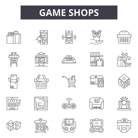 Game shops line icons, signs set, vector. Game shops outline concept illustration: degame,shop,web,computer 向量圖像