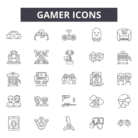 Gamer line icons, signs set, vector. Gamer outline concept illustration: gamer,game,video,computer,play,gaming,controller,console