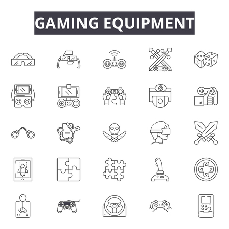 Gaming equipment line icons, signs set, vector. Gaming equipment outline concept illustration: equipment,game,sport,deball