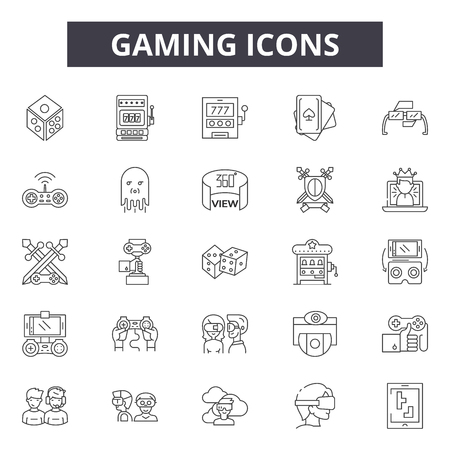 Gaming line icons, signs set, vector. Gaming outline concept illustration: game,play,controller,video,fun,gaming,technology