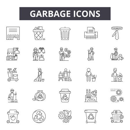 Garbage line icons, signs set, vector. Garbage outline concept illustration: garbage,ecology,recycle,recycling,trash,bin,waste