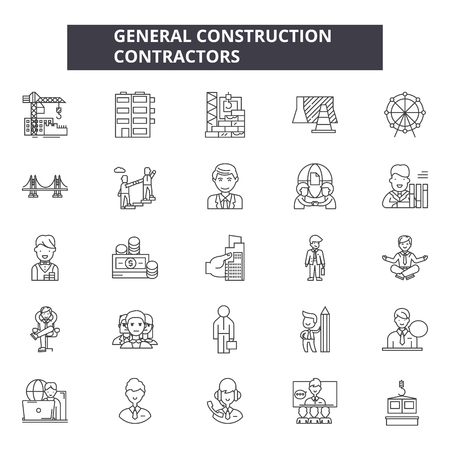 General construction contractors line icons, signs set, vector. General construction contractors outline concept illustration: contractor,construction,general,house,dehome,background