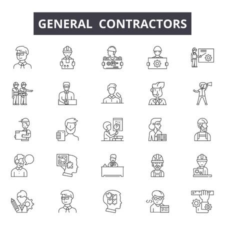 Generalunternehmer Liniensymbole, Zeichensatz, Vektor. Generalunternehmer skizzieren Konzeptillustration: Auftragnehmer, Dehouse, General, Element, Home, Set
