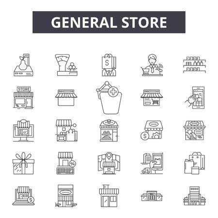 Algemene winkel lijn pictogrammen, borden set, vector. Algemene winkel overzicht concept illustratie: winkel, winkel, algemeen, detailhandel, zakelijk, web Vector Illustratie