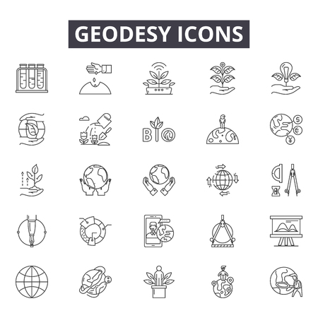 Geodesy line icons, signs set, vector. Geodesy outline concept illustration: geodesy,engineering,equipment,construction,survey,detechnology