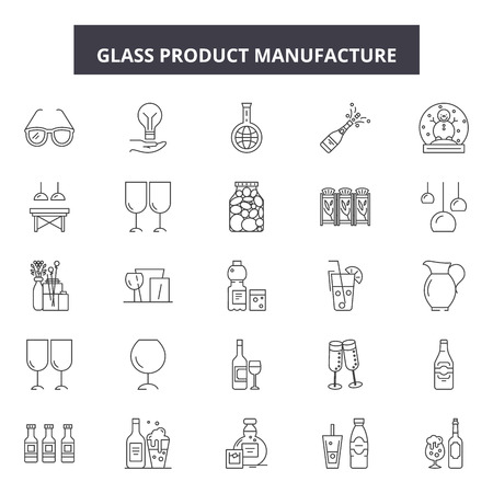 Glass product manufacture line icons, signs set, vector. Glass product manufacture outline concept illustration: product,glass,demanufacturing,isolated