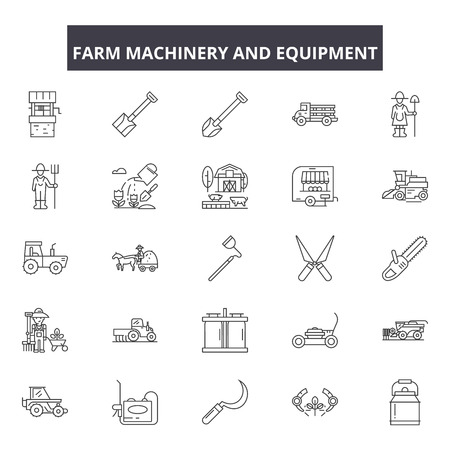 Farm machinery and equiment line icons, signs set, vector. Farm machinery and equiment outline concept, illustration: farm,agriculture,equipment,machinery,agricultural,tractor,industry,machine