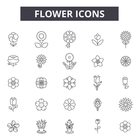 Bloem lijn pictogrammen, borden set, vector. Bloem overzicht concept illustratie: bloem, natuur, lente, bloesem, bloemen, zomer, geïsoleerd, plant Vector Illustratie
