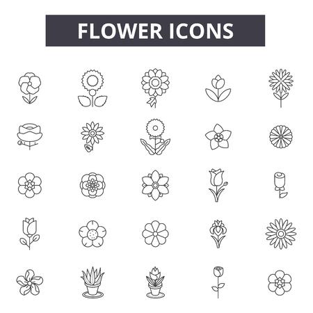 Icone della linea di fiori, set di segni, vettore. Illustrazione del concetto di contorno del fiore: fiore, natura, primavera, fiore, floreale, estate, isolato, pianta Vettoriali