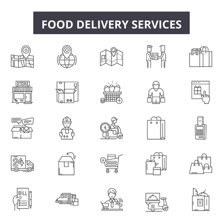 Food delivery services line icons, signs set, vector. Food delivery services outline concept illustration: delivery,food,service,fast,transportation,courier,design