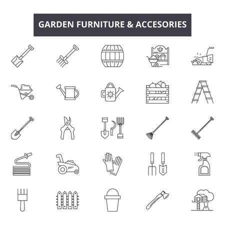 Garden furniture & accessories line icons, signs set, vector. Garden furniture & accessories outline concept illustration: flat,debusiness,simple