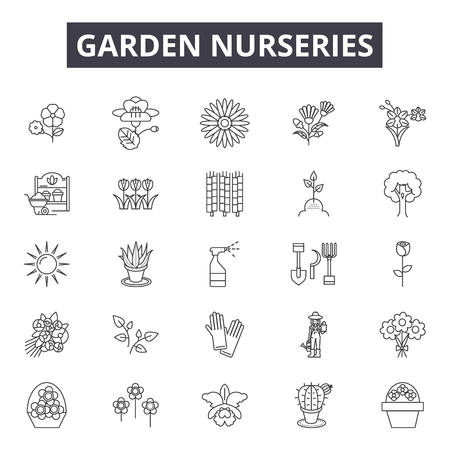 Garden nurseries line icons, signs set, vector. Garden nurseries outline concept illustration: nursery,garden,plant,sun,gardening Vektoros illusztráció