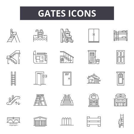Gates line icons, signs set, vector. Gates outline concept illustration: gate,deisolated,silhouette,graphic,background