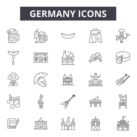 Germany line icons, signs set, vector. Germany outline concept illustration: germany,german,deisolated,background