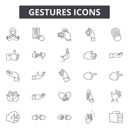 Gestures line icons, signs set, vector. Gestures outline concept illustration: hand,gesture,finger,interface,touch