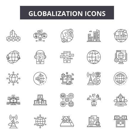 Iconos de línea de globalización, conjunto de signos, vector. Ilustración del concepto de esquema de globalización: global, mundo, tierra, globo, planeta, mapa