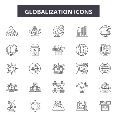Globalization line icons, signs set, vector. Globalization outline concept illustration: global,world,earth,globe,planet,map