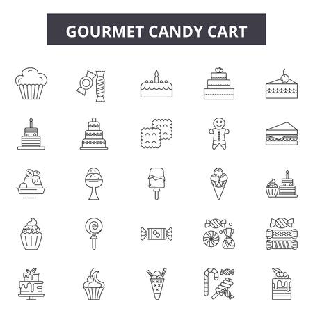 Gourmet candy cart line icons, signs set, vector. Gourmet candy cart outline concept illustration: gourmet,cart,candy,food,dessert,store,sweet,shop,business