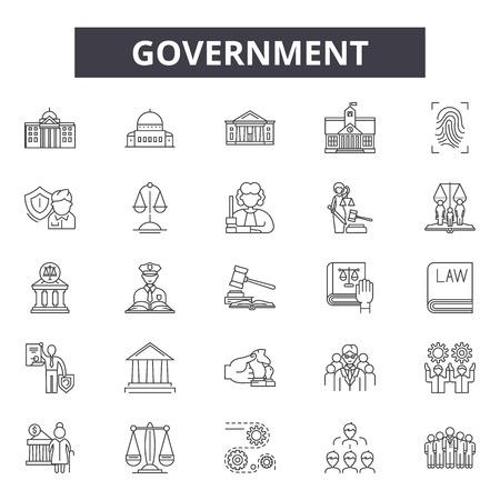 Icônes de ligne de concept de gouvernement, ensemble de signes, vecteur. Illustration de concept de contour de concept de gouvernement : entreprise, concept, homme d'affaires, travail, gestion, loi