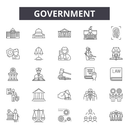 Government concept line icons, signs set, vector. Government concept outline concept illustration: business,concept,businessman,work,management,law