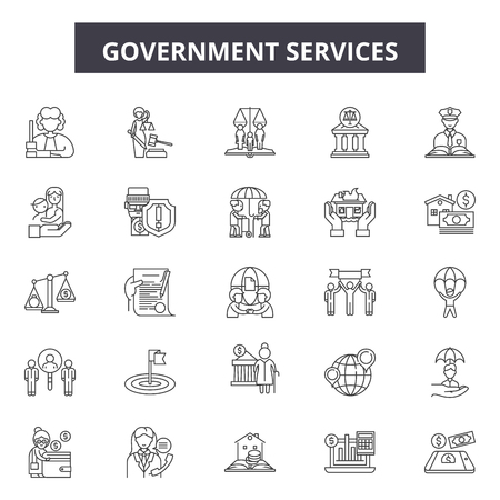 Government services line icons, signs set, vector. Government services outline concept illustration: government,service,business,education,administration,money Vettoriali