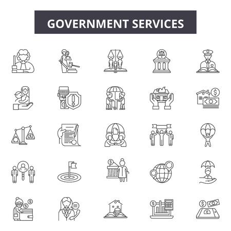 Icone della linea di servizi governativi, set di segni, vettore. Illustrazione del concetto di struttura dei servizi governativi: governo, servizio, affari, istruzione, amministrazione, denaro,