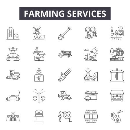 Farming services line icons, signs set, vector. Farming services outline concept illustration: farming,service,farm,debusiness,farmer Illustration