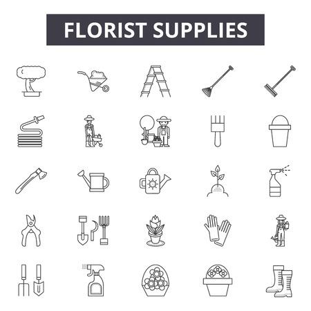 Florist supplies line icons, signs set, vector. Florist supplies outline concept illustration: supply,florist,nature,plant,flower,web,garden Illustration