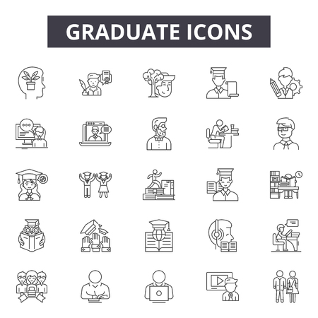 Graduate line icons, signs set, vector. Graduate outline concept illustration: graduation,education,university,college,school,student,hat