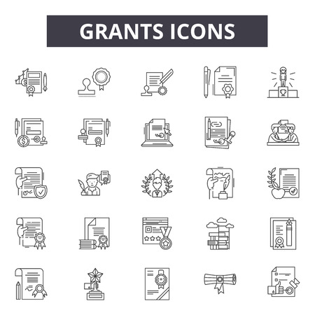 Grants line icons, signs set, vector. Grants outline concept illustration: grant,flat,debank,business