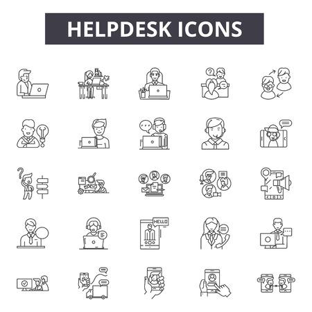 Helpdesk line icons, signs set, vector. Helpdesk outline concept illustration: helpdesk,support,service,help,call,customer,communication,phone Vetores