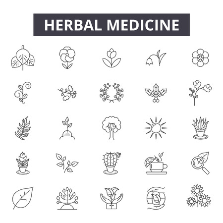 Herbal medicine line icons, signs set, vector. Herbal medicine outline concept illustration: medicine,herbal,health,denatural,medical,leaf